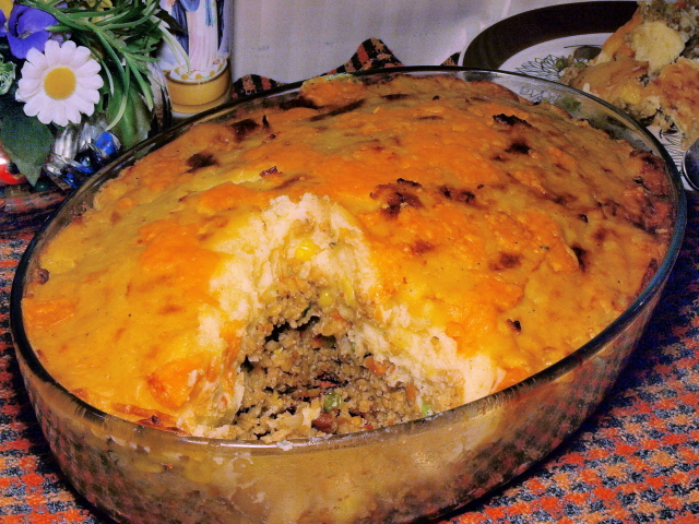 partially cut Shepherd Pie