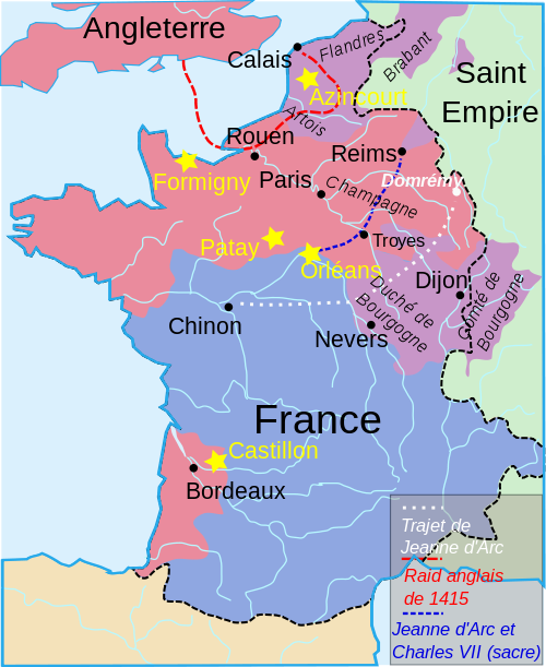 Map of France in 1429