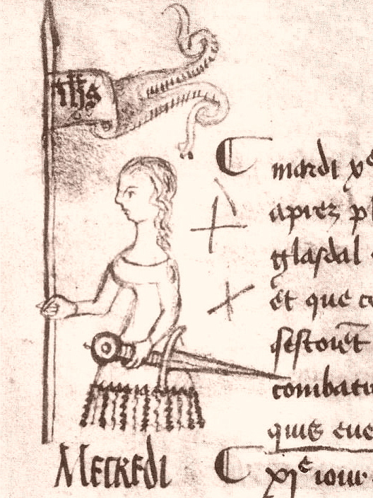 drawing of Joan of Arc on Paris register